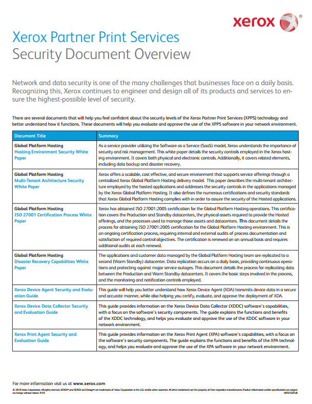 Xerox Partner Print Services Security Document Overview