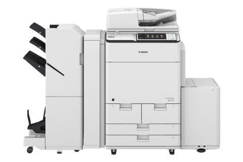 Canon imageRUNNER ADVANCE C7580i shown with optional booklet finisher and paper deck